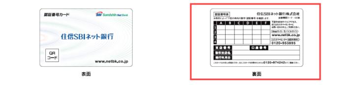 SBI認証番号カード 表