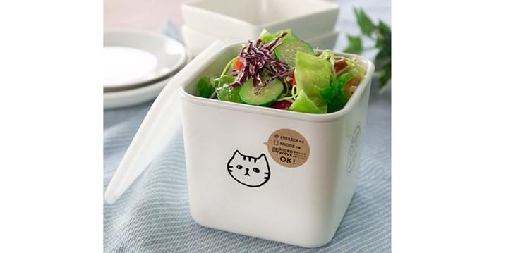 猫柄 スクエアストッカー かわいい保存容器