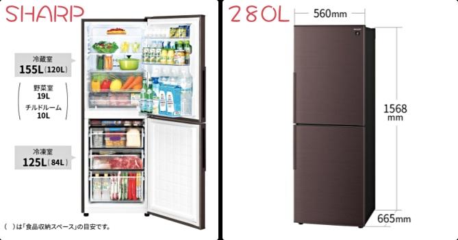 シャープ SJーPD28G 冷蔵庫